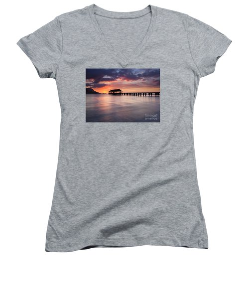Sunset Pier Women's V-Neck T-Shirt (Junior Cut) by Mike  Dawson