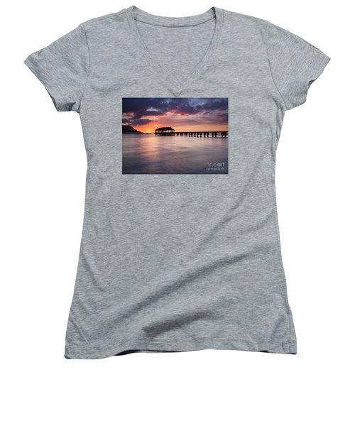 Sunset Pier Women's V-Neck T-Shirt