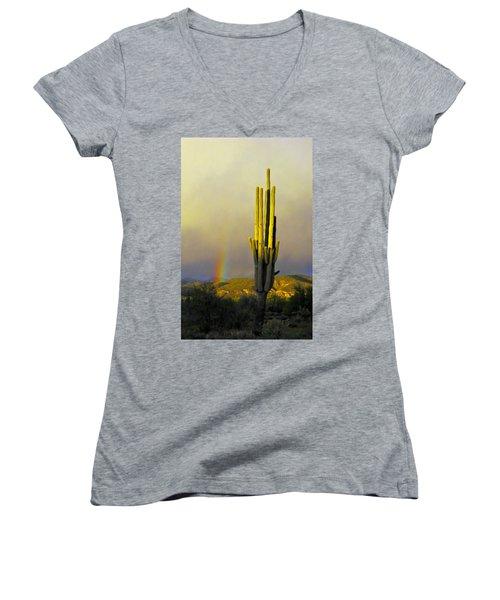 Women's V-Neck T-Shirt (Junior Cut) featuring the photograph Sunset Rainbow Cactus by John Haldane