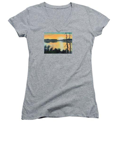 Sunset Women's V-Neck T-Shirt (Junior Cut) by Remegio Onia
