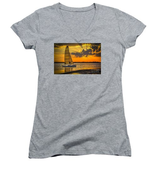 Sunset Sail Women's V-Neck T-Shirt (Junior Cut) by Marvin Spates
