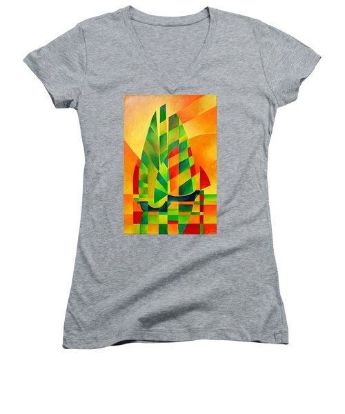 Women's V-Neck T-Shirt (Junior Cut) featuring the painting Sunset Sails And Shadows by Tracey Harrington-Simpson