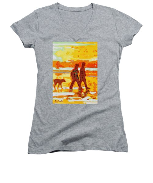 Sunset Silhouette Carmel Beach With Dog Women's V-Neck T-Shirt (Junior Cut) by Thomas Bertram POOLE