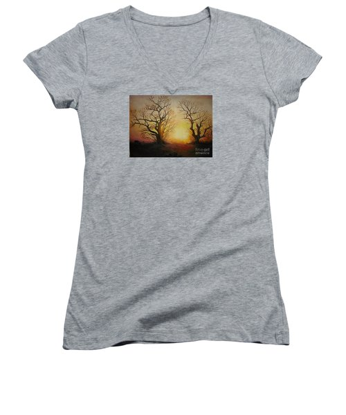 Women's V-Neck T-Shirt (Junior Cut) featuring the painting Sunset by Sorin Apostolescu
