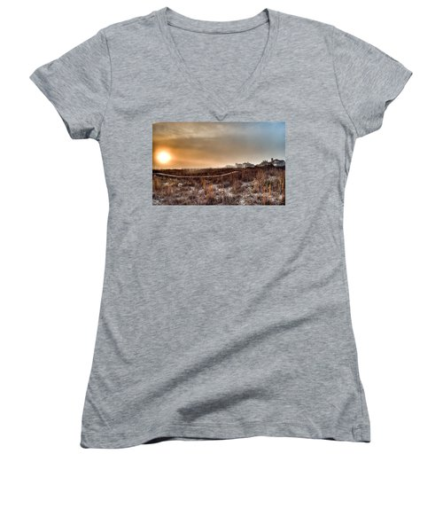 Sunset Through The Fog Women's V-Neck T-Shirt