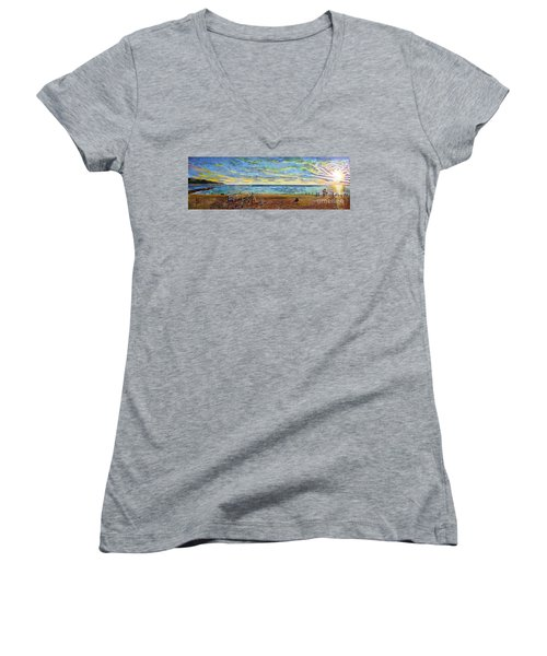 Sunset Volleyball At Old Silver Beach Women's V-Neck T-Shirt (Junior Cut) by Rita Brown