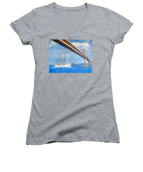 Sunshine Skyway Bridge  Women's V-Neck (Athletic Fit)