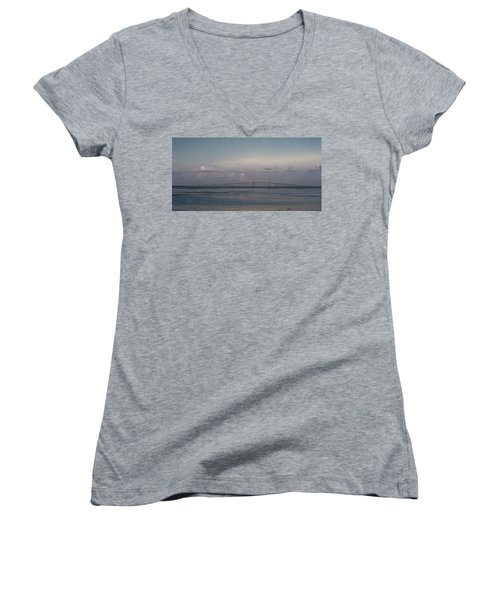 Women's V-Neck T-Shirt (Junior Cut) featuring the photograph Sunshine Skyway Bridge by Steven Sparks