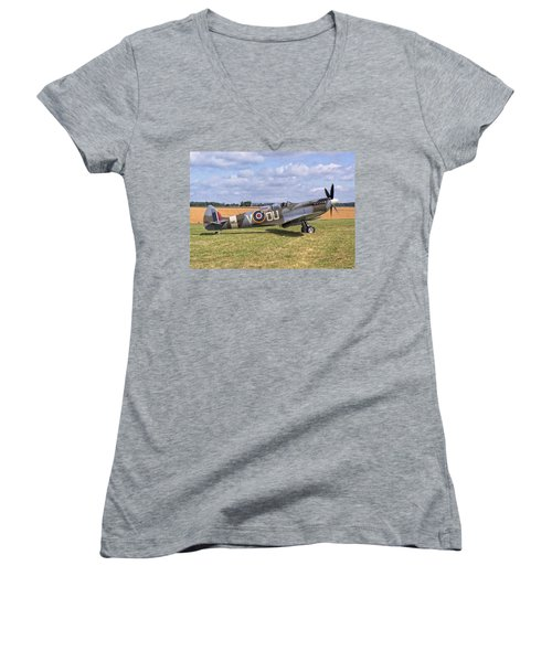 Women's V-Neck T-Shirt (Junior Cut) featuring the photograph Supermarine Spitfire T9 by Paul Gulliver