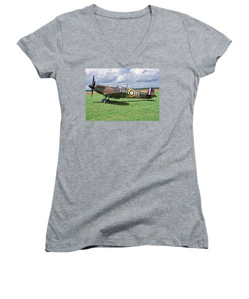 Women's V-Neck T-Shirt (Junior Cut) featuring the photograph Supermarine Spitifire 1a by Paul Gulliver