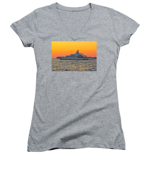 Superyacht On Yellow Sunset View Women's V-Neck T-Shirt (Junior Cut) by Brch Photography