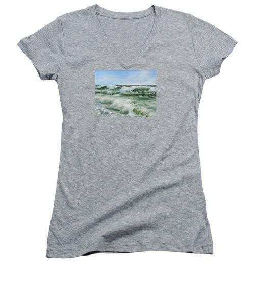 Surf At Castlerock Women's V-Neck T-Shirt (Junior Cut) by Barry Williamson