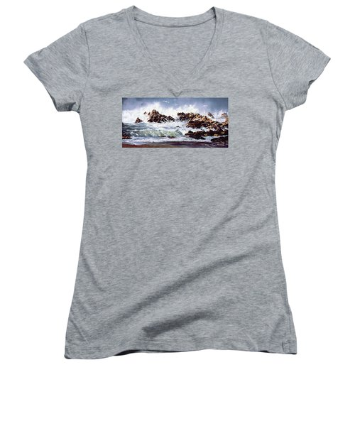 Women's V-Neck T-Shirt (Junior Cut) featuring the painting Surf At Lincoln City by Craig T Burgwardt
