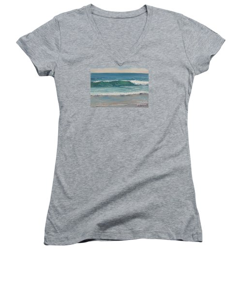 Women's V-Neck T-Shirt (Junior Cut) featuring the painting Surf Series 5 by Jennifer Boswell