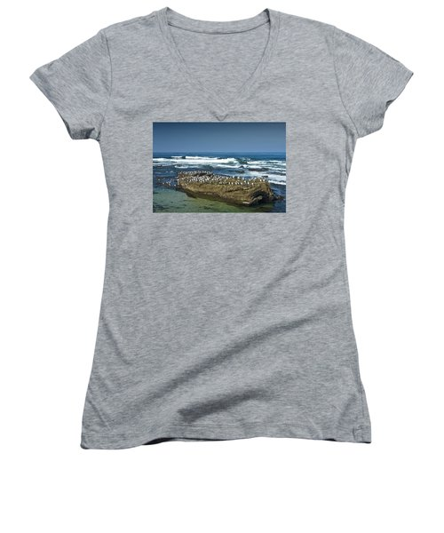 Surf Waves At La Jolla California With Gulls Perched On A Large Rock No. 0194 Women's V-Neck (Athletic Fit)