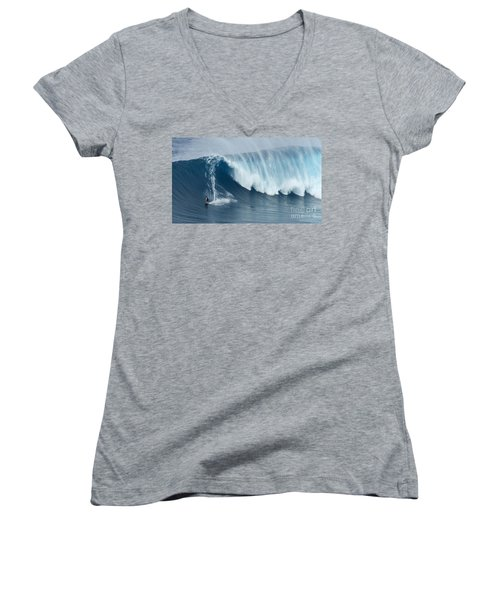 Surfing Jaws 5 Women's V-Neck T-Shirt (Junior Cut) by Bob Christopher