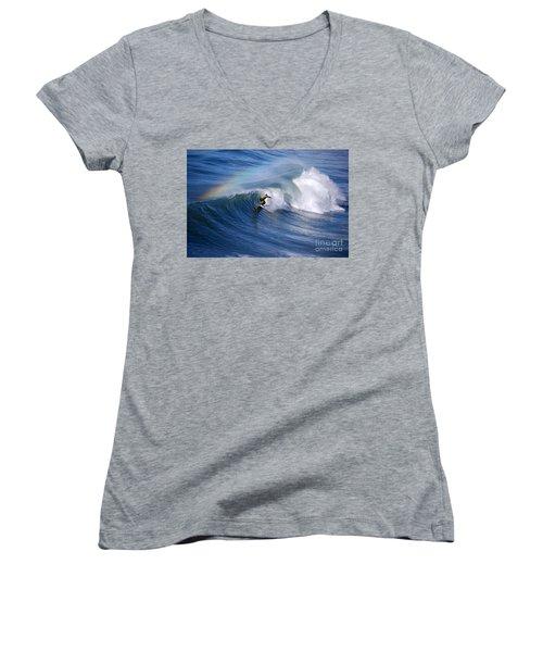 Surfing Under A Rainbow Women's V-Neck T-Shirt (Junior Cut)