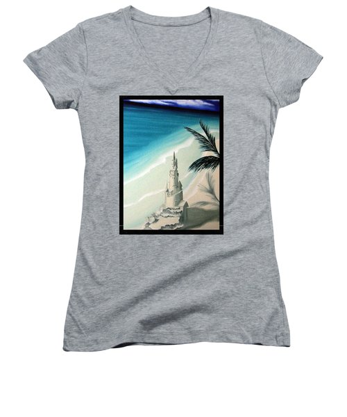 Women's V-Neck T-Shirt (Junior Cut) featuring the painting Surprise Blessing by Dianna Lewis