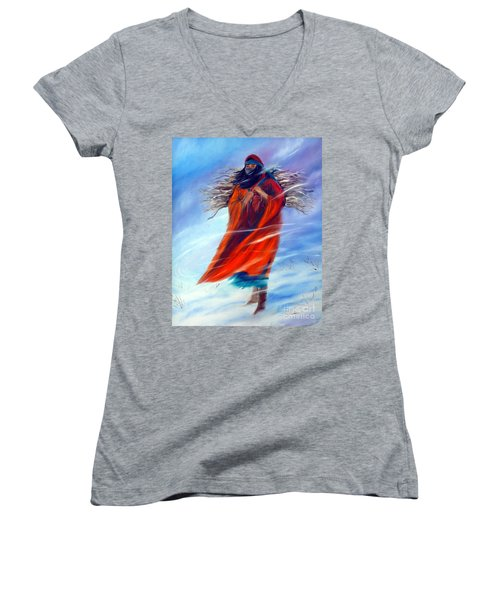 Women's V-Neck T-Shirt (Junior Cut) featuring the painting Surviving Another Day by Jackie Carpenter