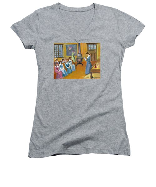 Women's V-Neck T-Shirt (Junior Cut) featuring the painting Susan B. Anthony Teaching In Canajoharie by Betty Pieper