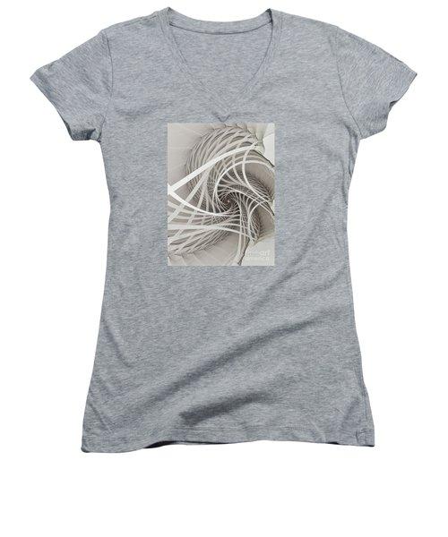 Suspension Bridge-fractal Art Women's V-Neck T-Shirt (Junior Cut) by Karin Kuhlmann