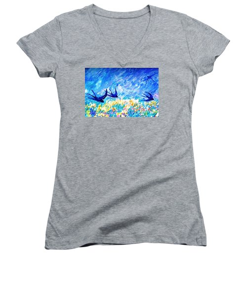 Swallows In Summer Women's V-Neck T-Shirt (Junior Cut) by Trudi Doyle