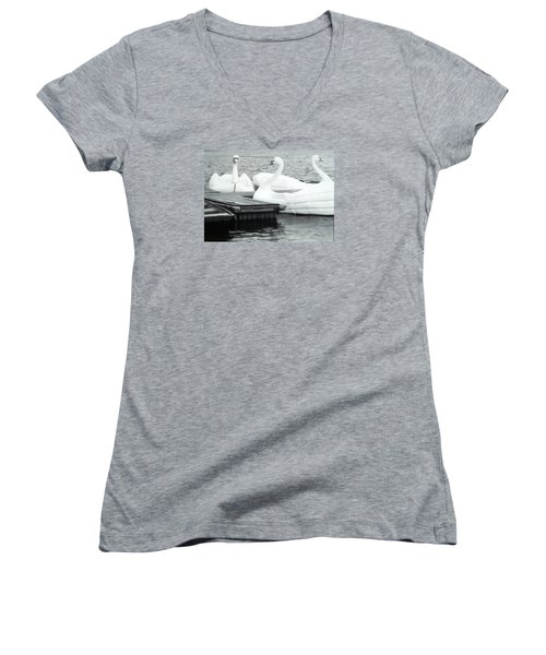 Women's V-Neck T-Shirt (Junior Cut) featuring the photograph White Swan Lake by Belinda Lee