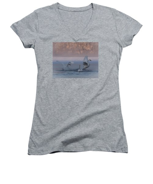 Swans Chasing Women's V-Neck T-Shirt (Junior Cut) by Patti Deters