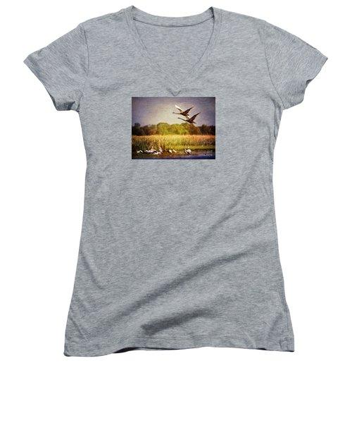 Swans In Flight Women's V-Neck T-Shirt (Junior Cut) by Kym Clarke