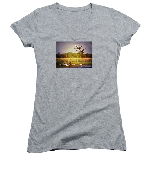 Swans In Flight Women's V-Neck (Athletic Fit)