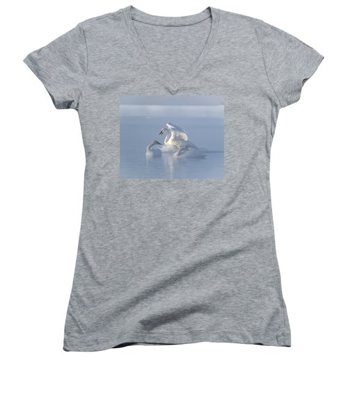 Trumpeter Swans - Three's Company Women's V-Neck T-Shirt (Junior Cut) by Patti Deters