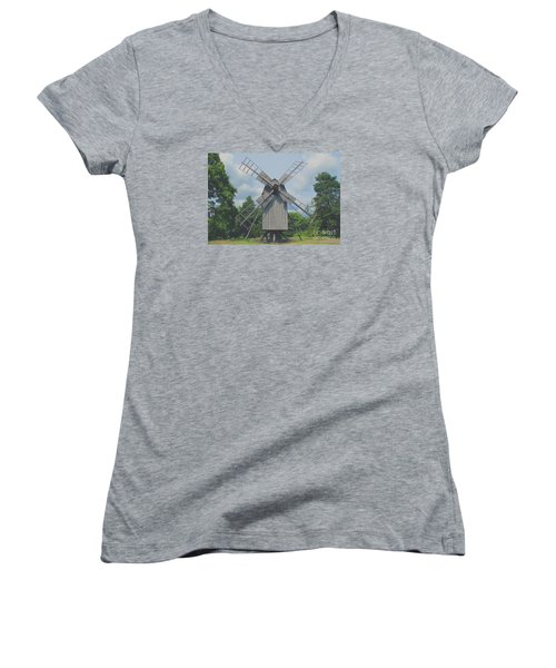 Women's V-Neck T-Shirt (Junior Cut) featuring the photograph Swedish Old Mill by Sergey Lukashin