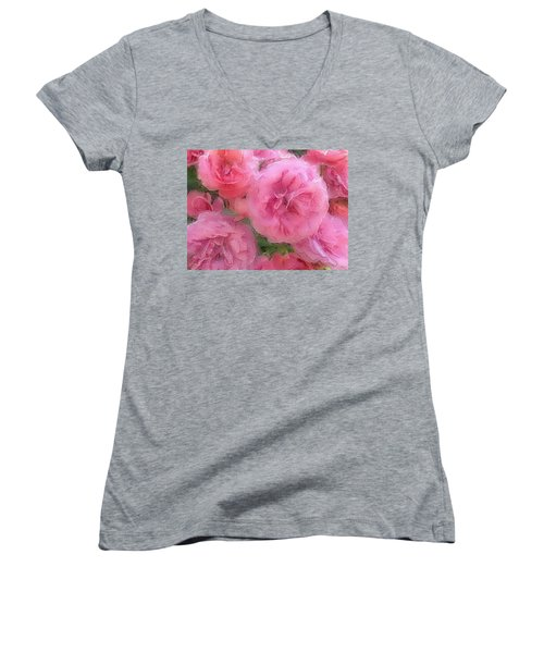 Women's V-Neck T-Shirt (Junior Cut) featuring the mixed media Sweet Pink Roses  by Gabriella Weninger - David