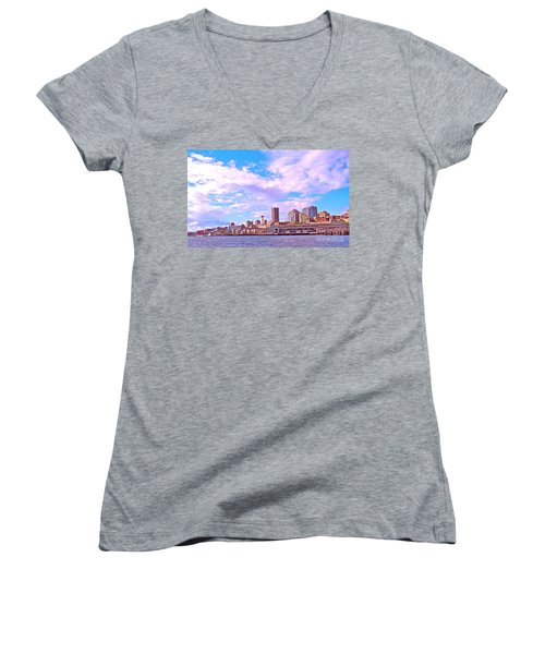 Sweet Seattle Women's V-Neck T-Shirt (Junior Cut) by Gem S Visionary