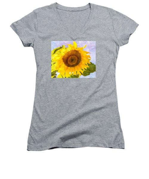 Sweet Sunflower Women's V-Neck T-Shirt (Junior Cut) by Arlene Carmel