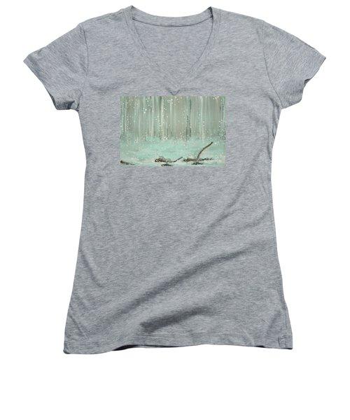 Swimming Leaves Women's V-Neck T-Shirt (Junior Cut) by Marisela Mungia