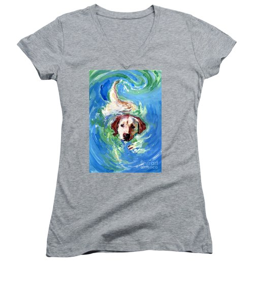 Women's V-Neck T-Shirt (Junior Cut) featuring the painting Swirl Pool by Molly Poole