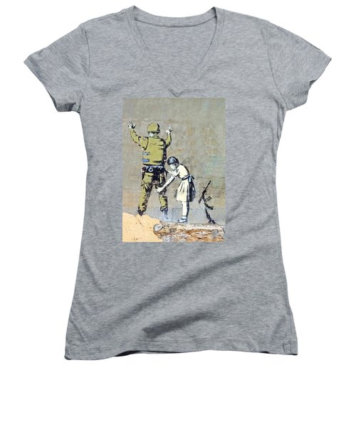 Switch Roles Women's V-Neck T-Shirt (Junior Cut) by Munir Alawi