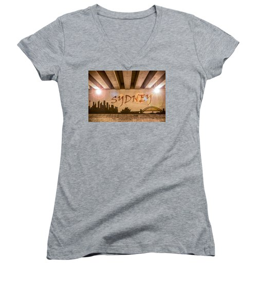 Sydney Graffiti Skyline Women's V-Neck T-Shirt (Junior Cut) by Semmick Photo