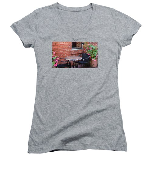 Women's V-Neck T-Shirt (Junior Cut) featuring the photograph Table For Two by Cynthia Guinn