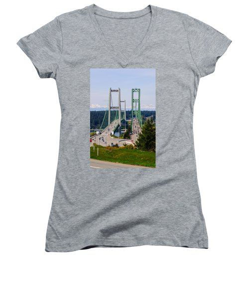 Tacoma Narrows Bridge Women's V-Neck (Athletic Fit)
