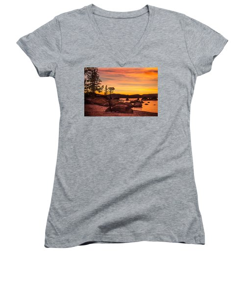 Women's V-Neck T-Shirt (Junior Cut) featuring the photograph Tahoe Golden Sunset by Steven Bateson