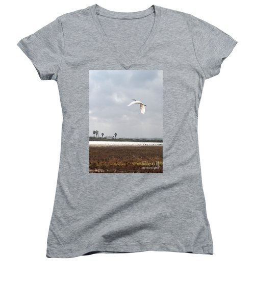 Women's V-Neck T-Shirt (Junior Cut) featuring the photograph Take Off by Erika Weber