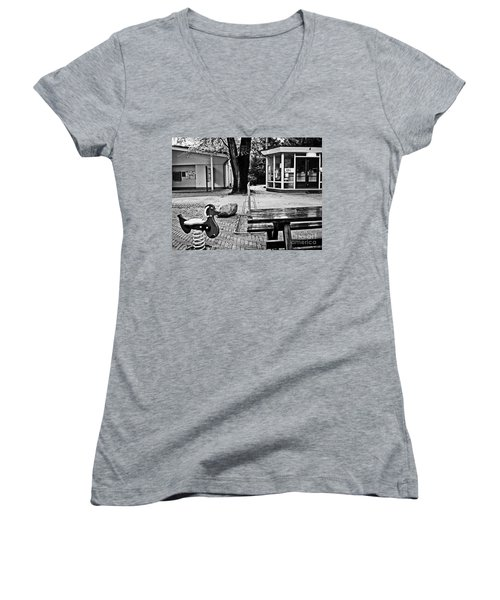 Women's V-Neck T-Shirt (Junior Cut) featuring the photograph Taking A Break by Andy Prendy