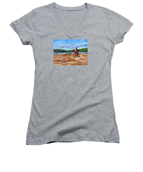 Taking A Ride  Women's V-Neck T-Shirt (Junior Cut) by Laura Forde