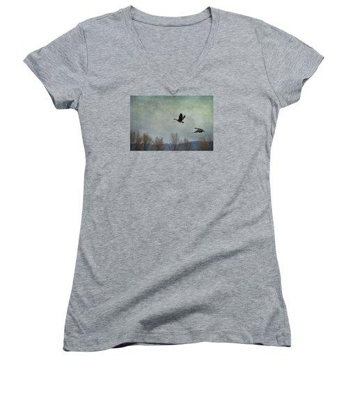 Taking Flight Women's V-Neck T-Shirt (Junior Cut) by Belinda Greb