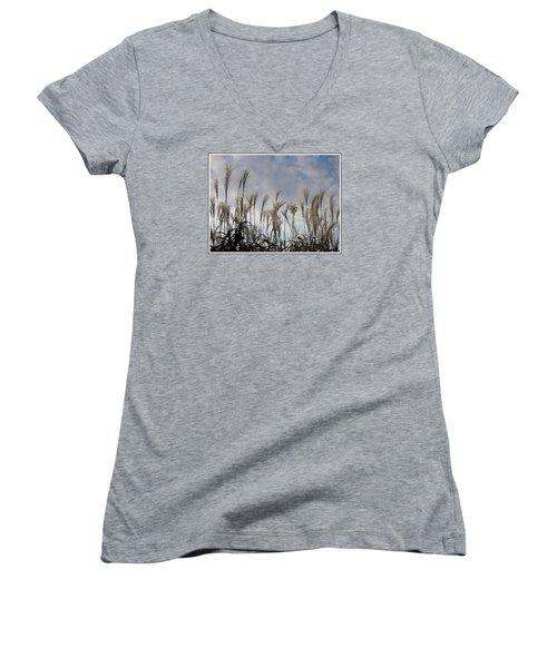 Tall Grasses And Blue Skies Women's V-Neck T-Shirt (Junior Cut) by Dora Sofia Caputo Photographic Art and Design