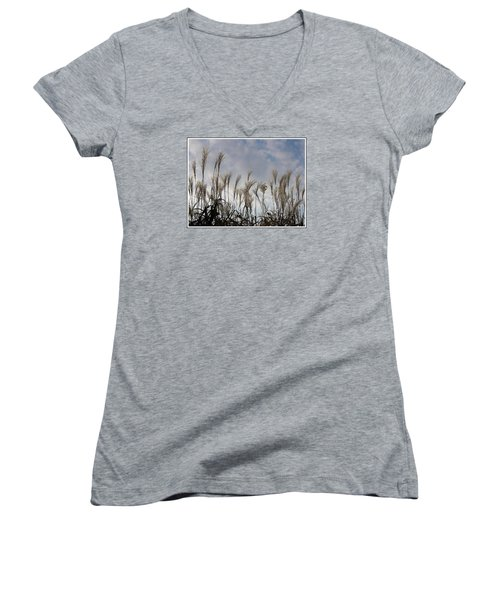 Tall Grasses And Blue Skies Women's V-Neck T-Shirt