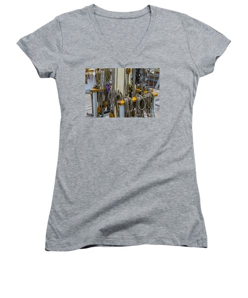Tall Ship Lines And Blocks Women's V-Neck T-Shirt (Junior Cut) by Dale Powell