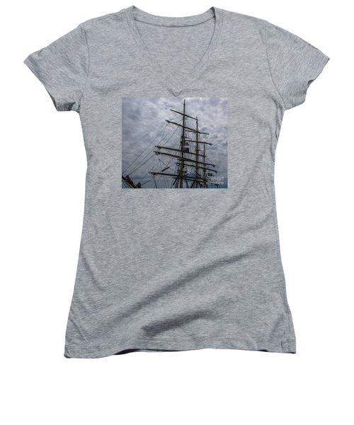 Sailing The Clouds Women's V-Neck T-Shirt (Junior Cut) by Dale Powell